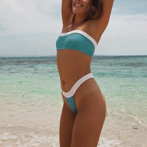 Ribbed Color Block Bandeaux Bikini Swimsuit - worthtryit.com