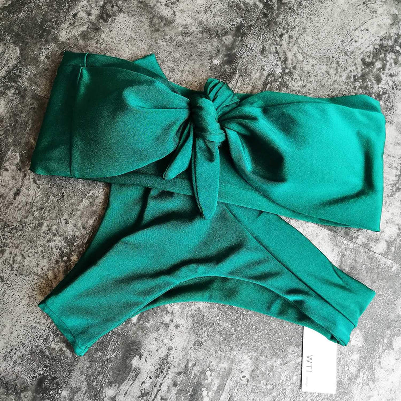Tie Bow Front High Waist High Cut Bikini Set - worthtryit.com
