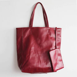 "Eco Vegan Leather Lambskin Work Tote bag Large 16.7"" With Little Purse Inside"