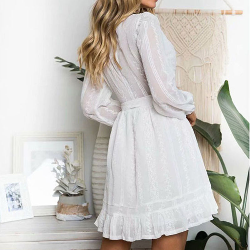 Embroidery  Button Up V Neck Tie Waist Long Sleeve Dress