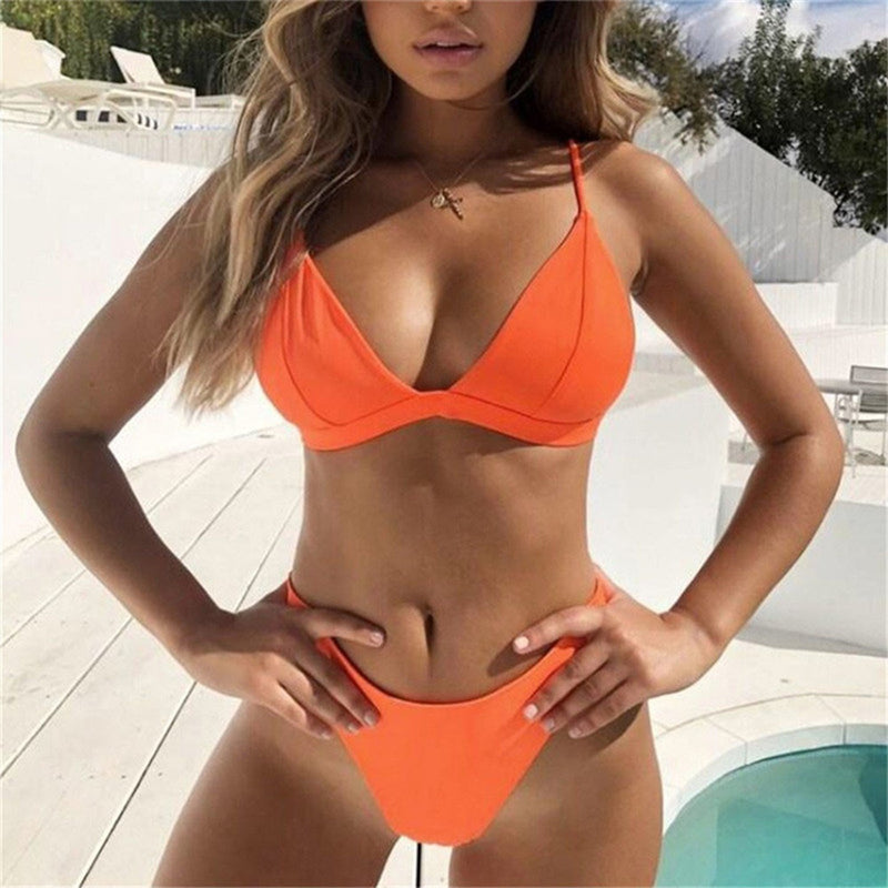 Classic Solid Color Triangle Bikini Swimsuit - worthtryit.com