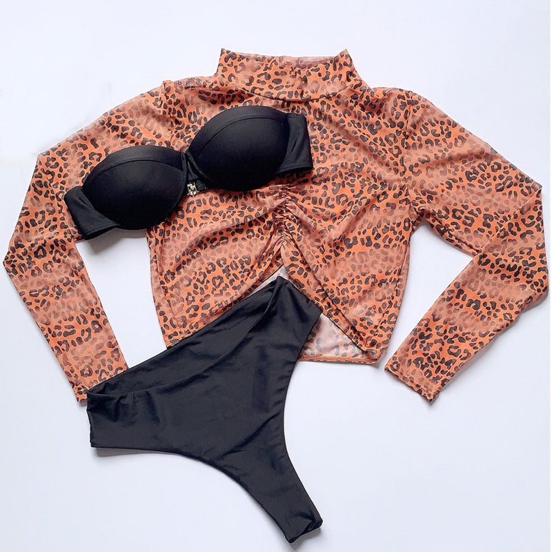 Leopard High Waisted Long Sleeve Bikini 3 PCS Set