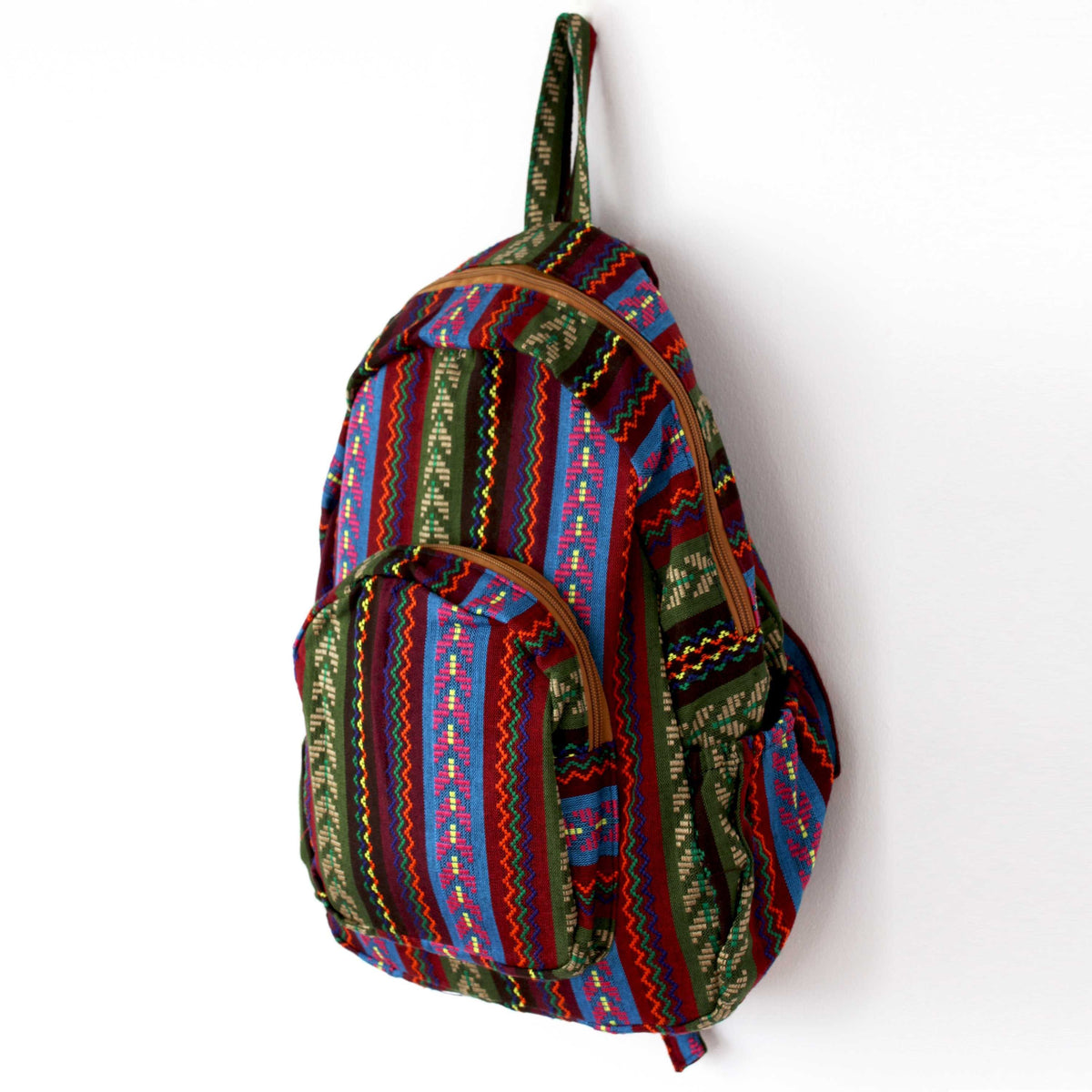 Floral Cotton Tribal Bohemian Hippie Backpack-Green Row
