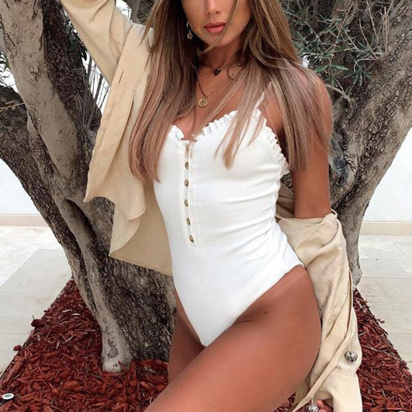 Ribbed Ruffle Hems Button Up One Piece Swimsuit - worthtryit.com