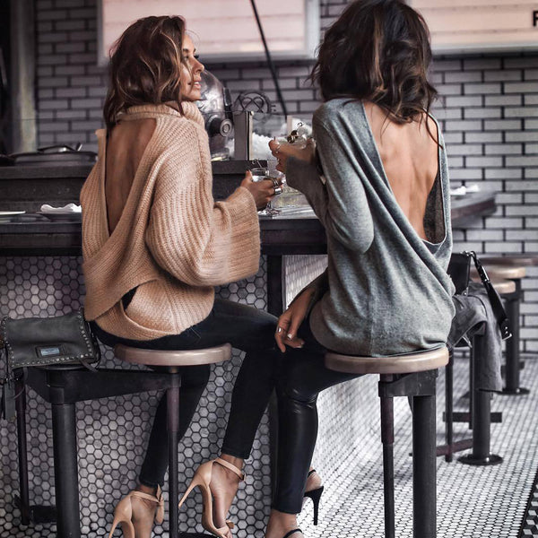 Lace Up Back Turtleneck Flare Sleeve Knit Sweater