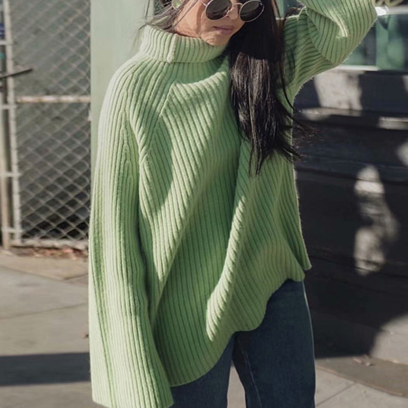 Oversize High Neck Flare Sleeves Knit Sweater - Green