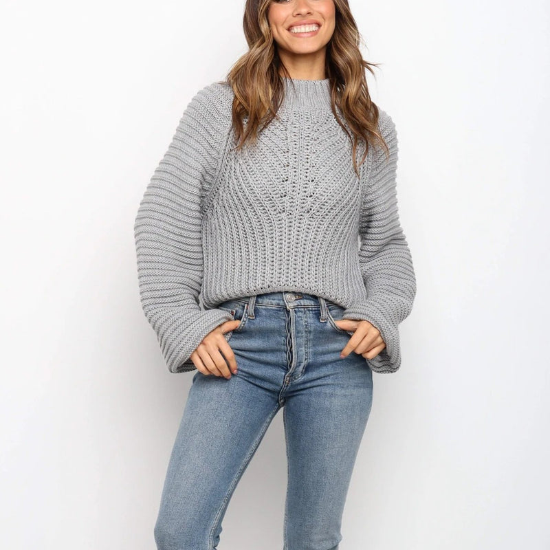 Round Neck Puffer Shoulder Knit Sweater