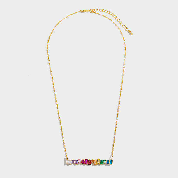 Rainbow Baguette 18K Gold Bar Necklace
