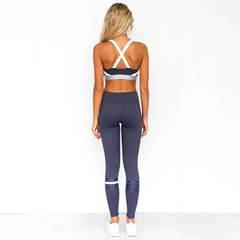 Color Blocked 2 Piece Yoga Sports Running Gym Fitness Suit