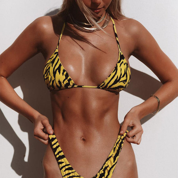 Zebra Print Triangle & Crop Top Bikini Swimsuit - worthtryit.com