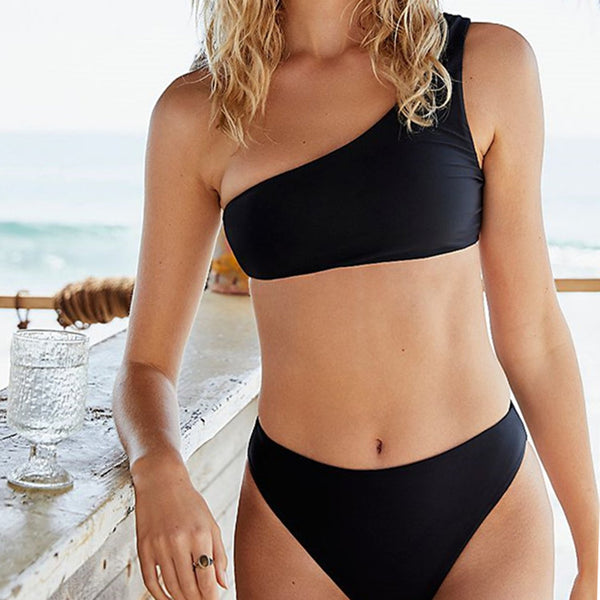 Solid Color One Shoulder High Waist Bikini Swimsuit