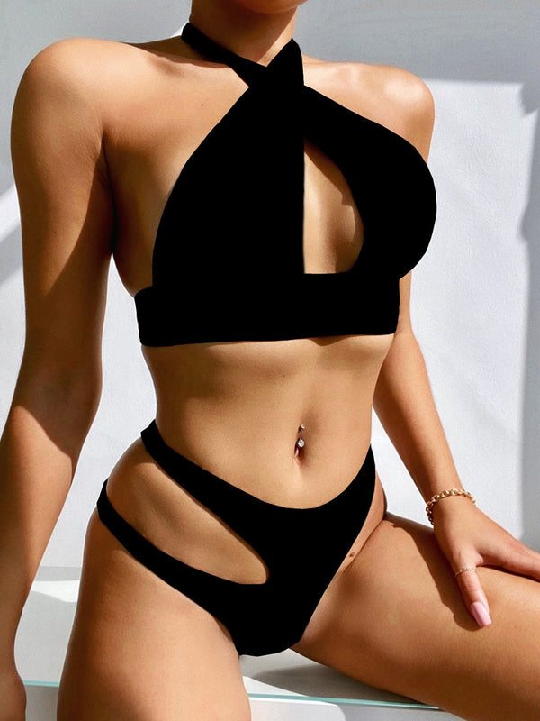 Halter Neck Side Cut Crop Bikini Swimsuit