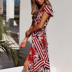 Floral Print Wrap Over Maxi Dress