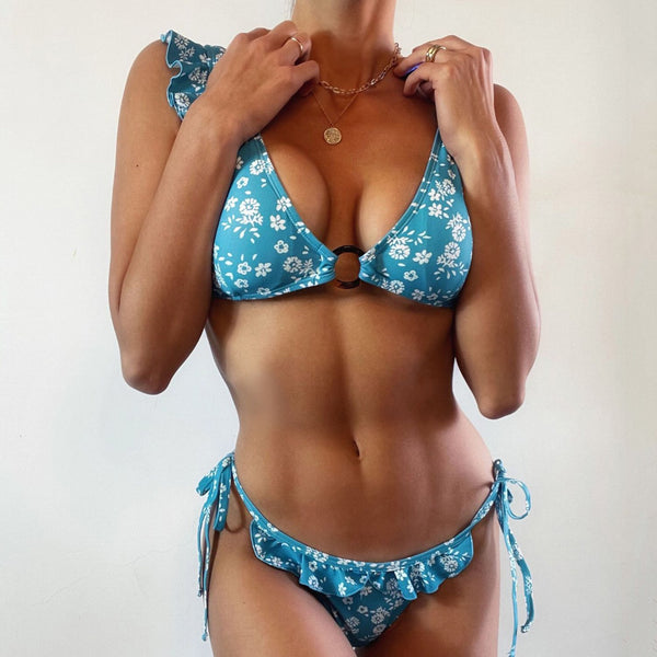 Floral Ruffle Shoulder Bikini With Ring