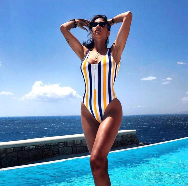Colorful Stripes Zip Up One Piece Swimwear - worthtryit.com
