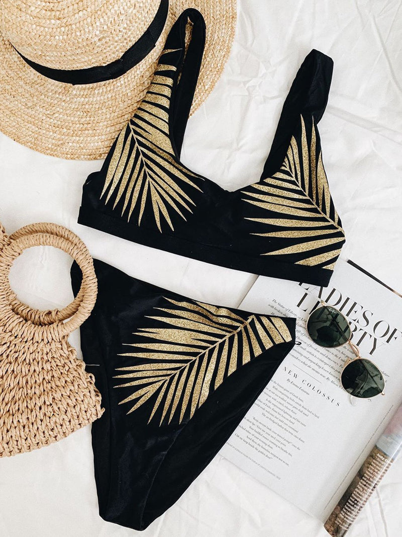 Golden Leaves Print Crop Top Bikini Swimsuit