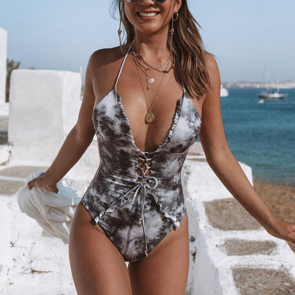 Marble Print Lace Up Front One Piece Swimsuit - worthtryit.com