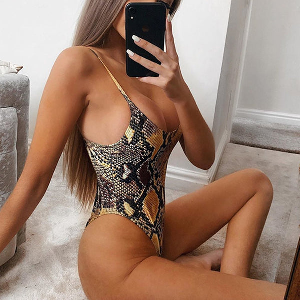 Snake Strappy One Piece  Swimsuit - worthtryit.com