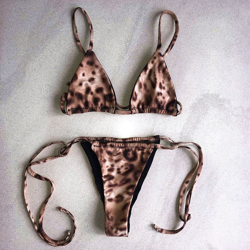 Sexy Leopard Triangle Bikini Swimsuit