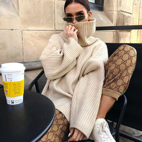 Oversized High Neck Knit Sweater- Beige