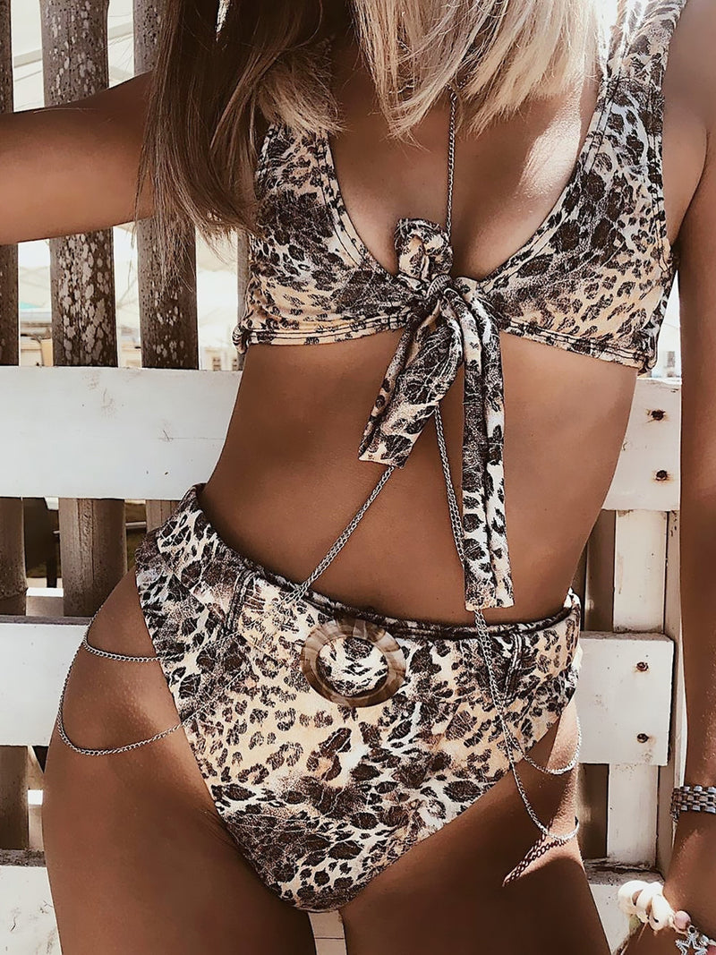Leopard Print Front Tie High Waist Bikini With Belt
