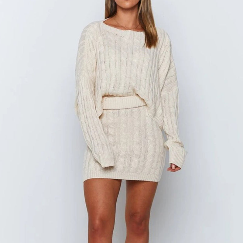 Loose Cable Knit Sweater & Skirt Two Pieces Set