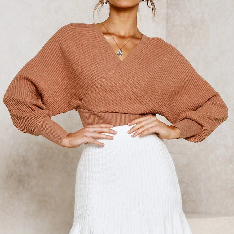 Rib Off Shoulder Lace Up Front Knit Sweater