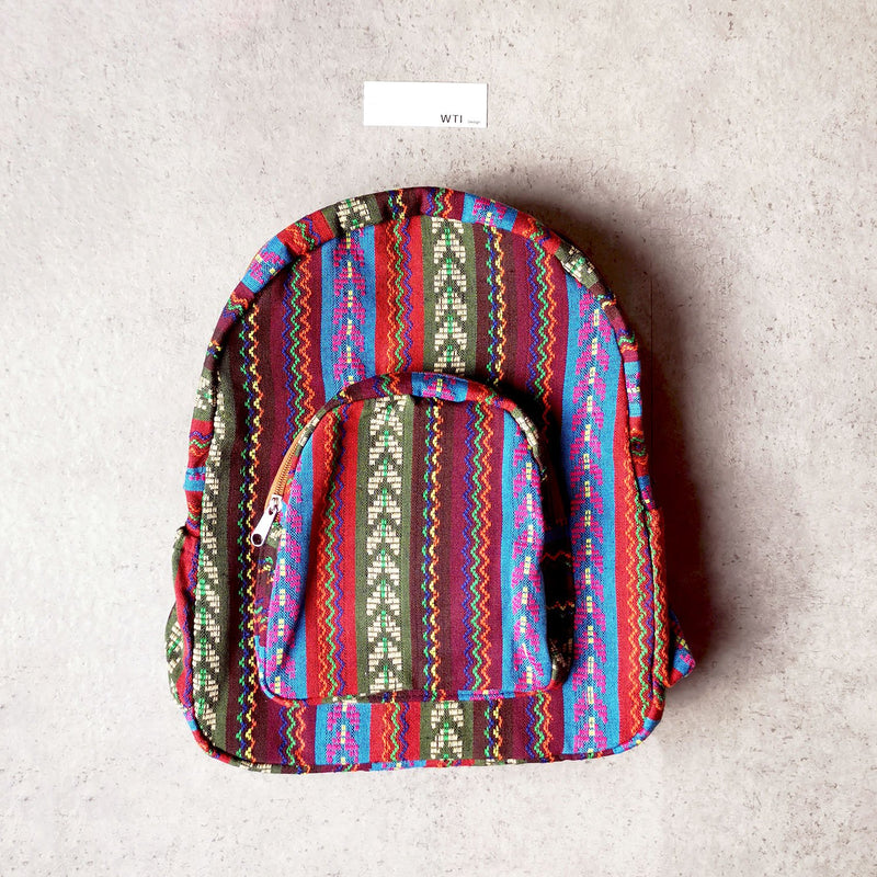Boho Style Thailand Cotton Backpack-Green Row
