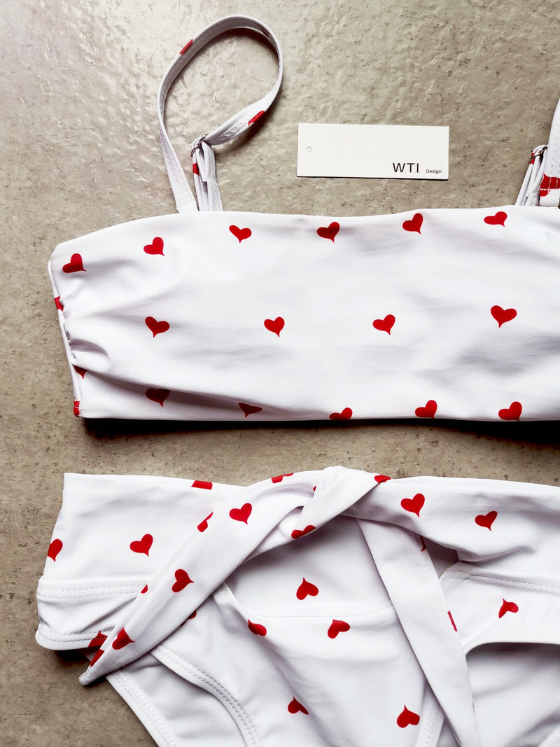 Heart Print High Waist Tie Bandeaux Swimsuit - worthtryit.com