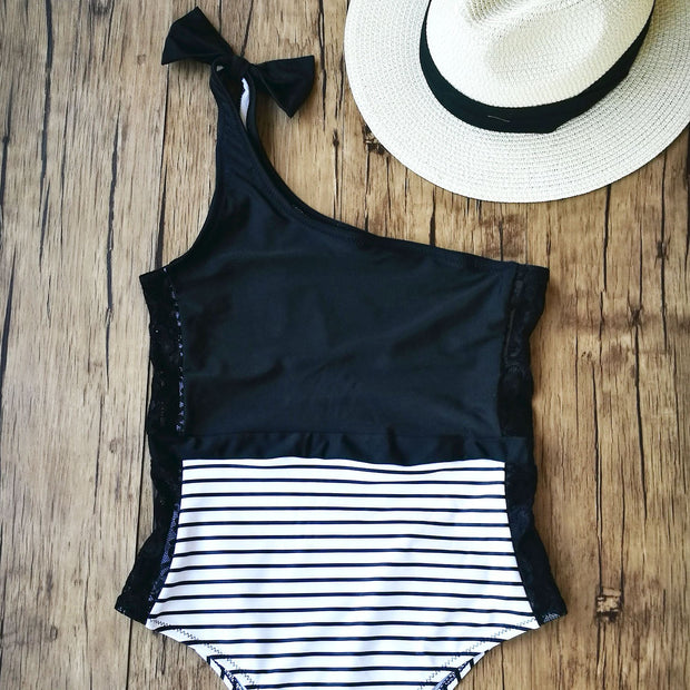 One Shoulder Lace Swimsuit One Piece- Black & White