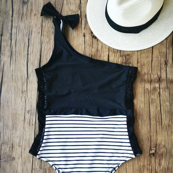 One Shoulder Lace Block One Piece Swimsuit- Black & White - worthtryit.com
