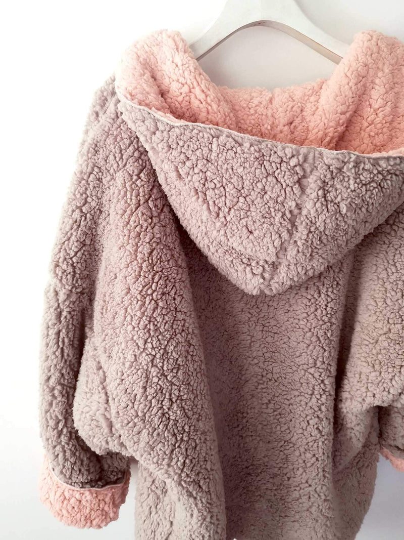 Reversible Oversized Soft Fuzzy Hoodie Coat