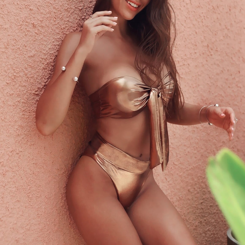 Metallic Front Tie High Waist Bikini Swimsuit