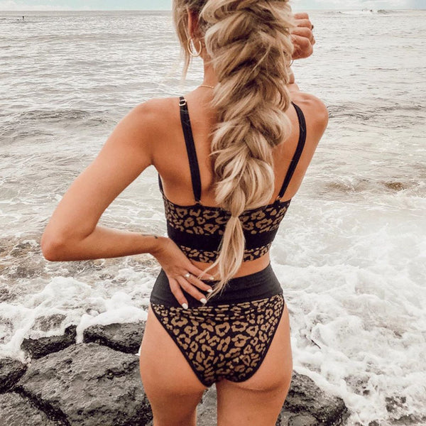 Leopard Blocked High Waisted Crop Top Bikini Swimsuit
