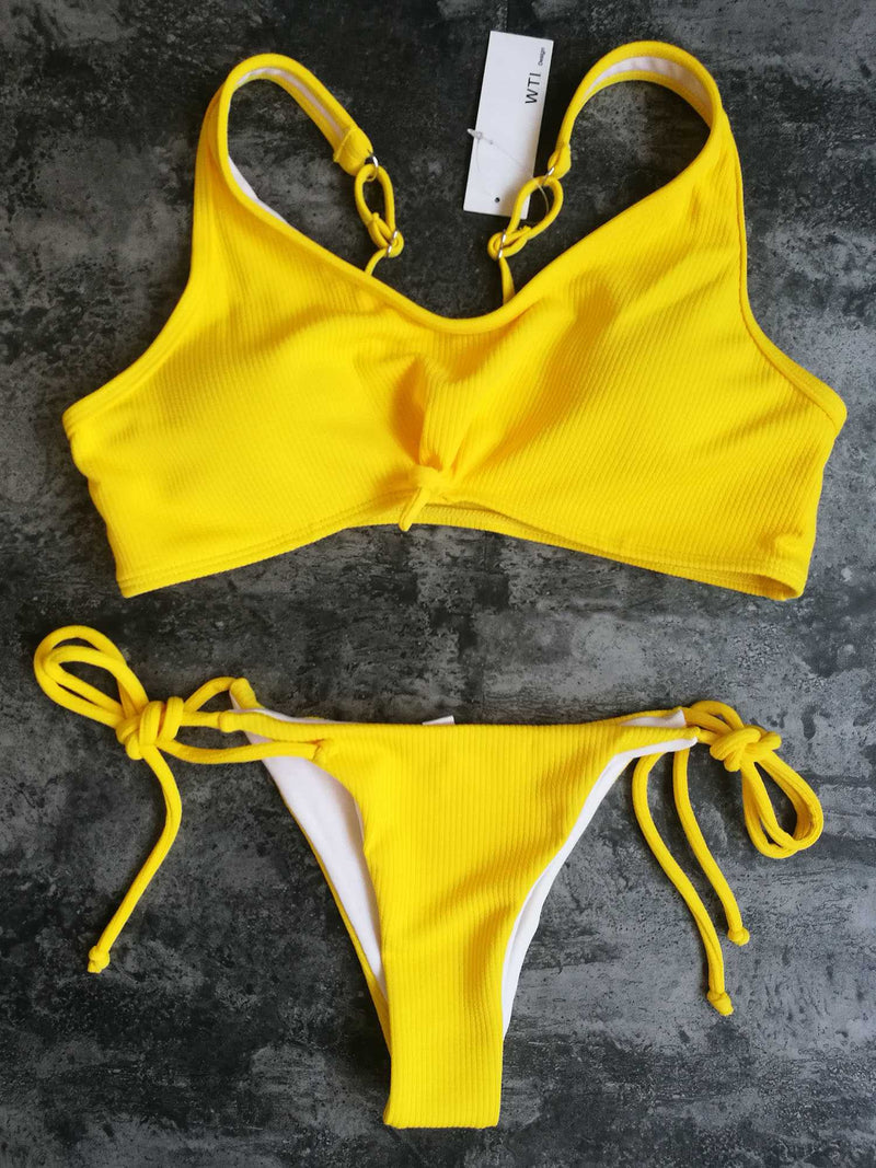 Sporty Ribbed Tie Knot Front High Cut Bikini Set - worthtryit.com