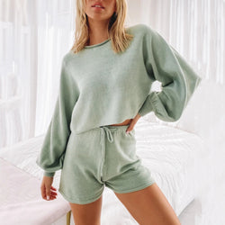 Round Neck Knit Sweater & Shorts Two Piece Set LB201