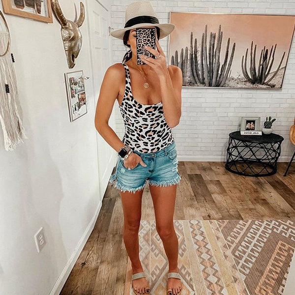 Vintage Animal Print One Piece Swimsuit - worthtryit.com