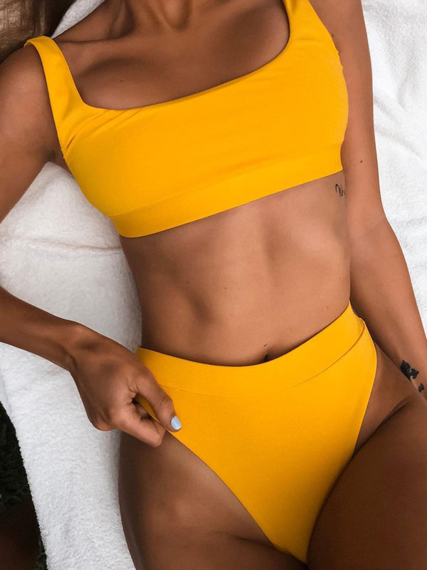 Solid Color High Waist Crop Top Bikini Swimsuit - worthtryit.com