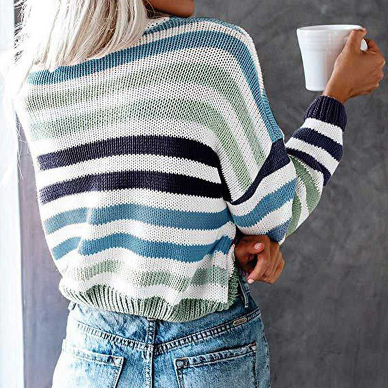 Colorful Stripes Knit Short Sweater