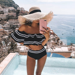 Color Block Ruffle Off Shoulder High Waist Bikini Swimsuit