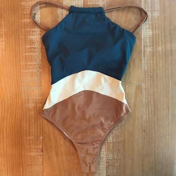 Color Blocked High Cut One Piece Bikini Set - worthtryit.com