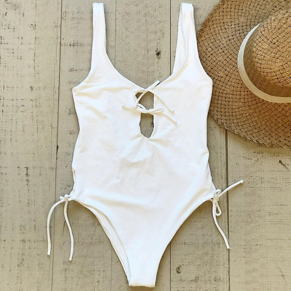 Solid Color Lace Up One Piece Swimsuit - worthtryit.com