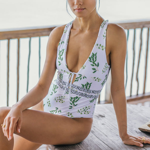 Floral Print Cross Back One Piece Swimsuit - worthtryit.com
