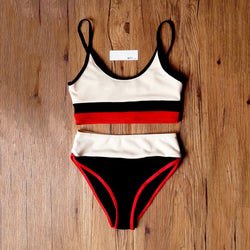 Ribbed Color Blocked Crop High Waist Bikini Swimsuit YX20
