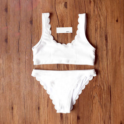 Ribbed Scallop Crop Top Bikini Swimsuit MJ20