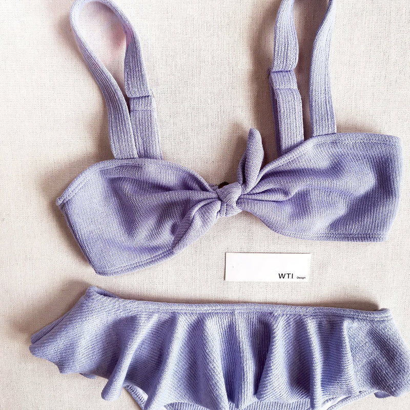 Textured Front Bow Tie Ruffle Waist Crop Top Bikini Swimsuit
