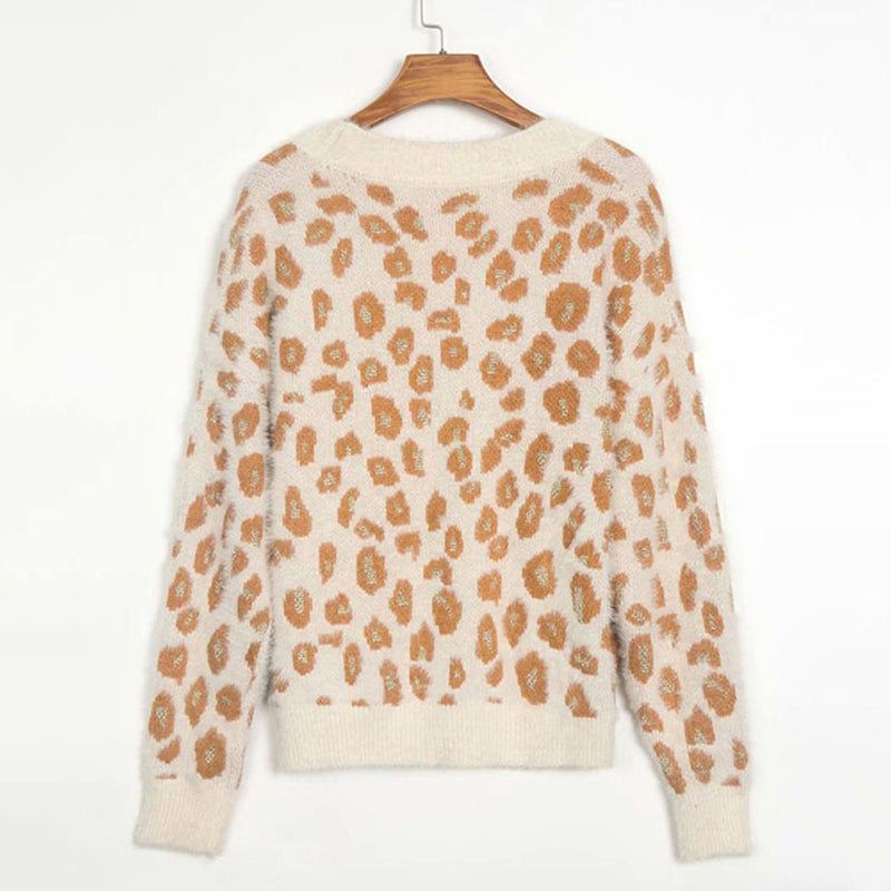 Leopard V Neck Knit Cardigan