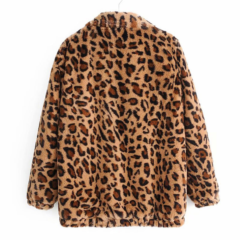 Leopard Teddy Sweater Faux Fur Jacket