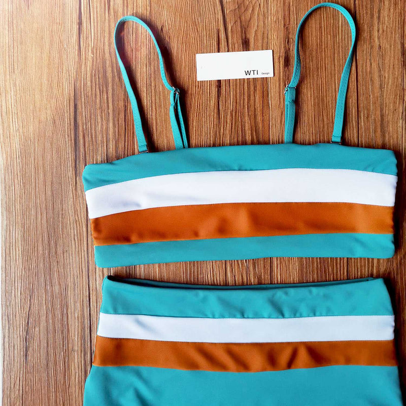 Color Block Strappy High Waisted Crop Top Bikini Set