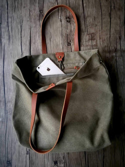 Designer Laptop Transport Travel Canvas Tote bag With Leather Handle